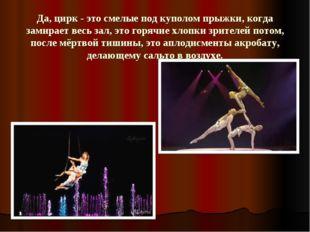 Да, цирк - это смелые под куполом прыжки, когда замирает весь зал, это горячи