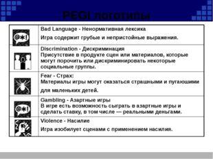PEGI логотипы Bad Language - Ненормативная лексика Игра содержит грубые и неп