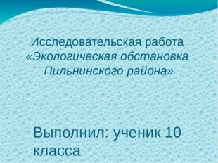 Исследовательская работа «Экологическая обстановка Пильнинского района» Выпол
