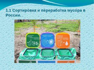 1.1 Сортировка и переработка мусора в России.