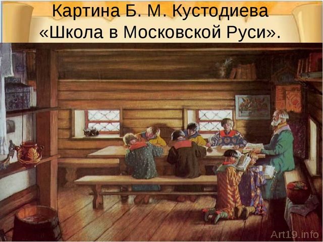Картина Б. М. Кустодиева «Школа в Московской Руси».