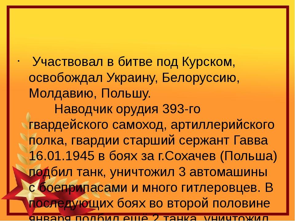 Участвовал в битве под Курском, освобождал Украину, Белоруссию, Молдавию, П...
