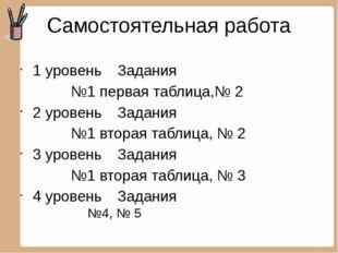 Самостоятельная работа 1 уровень Задания №1 первая таблица,№ 2 2 уровень