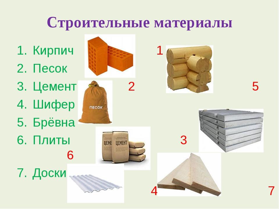 Строительные материалы Кирпич 1 Песок Цемент 2 5 Шифер Брёвна Плиты 3 6 Доски...