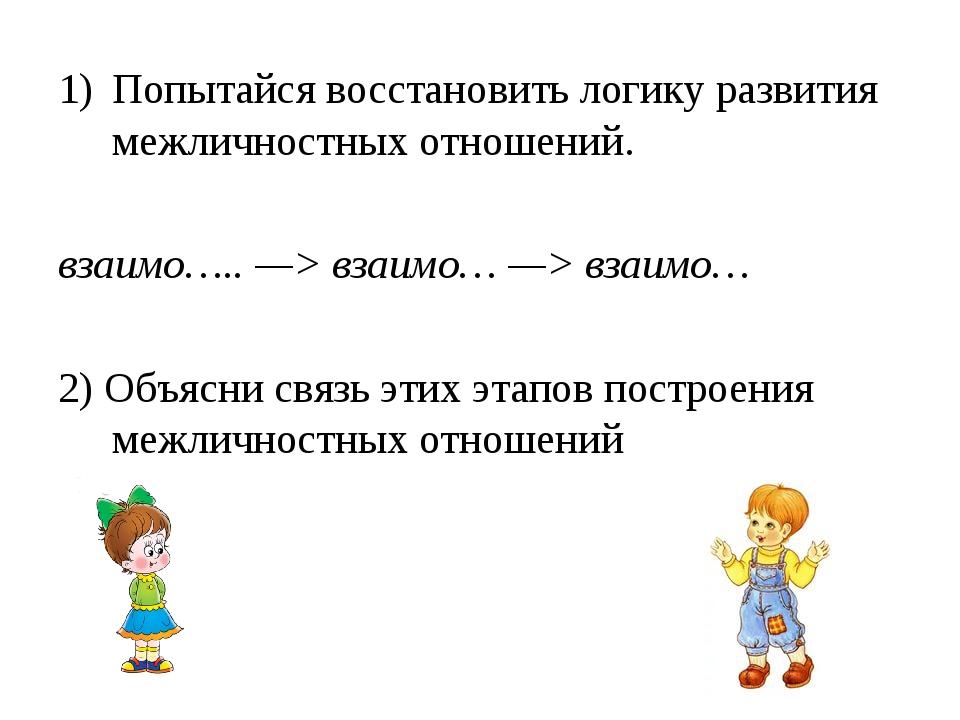 Попытайся восстановить логику развития межличностных отношений. взаимо….. —>...