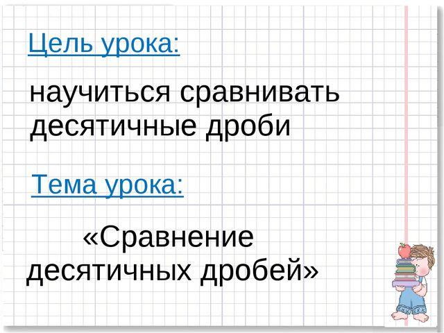 Цель урока: научиться сравнивать десятичные дроби Тема урока: «Сравнение деся...