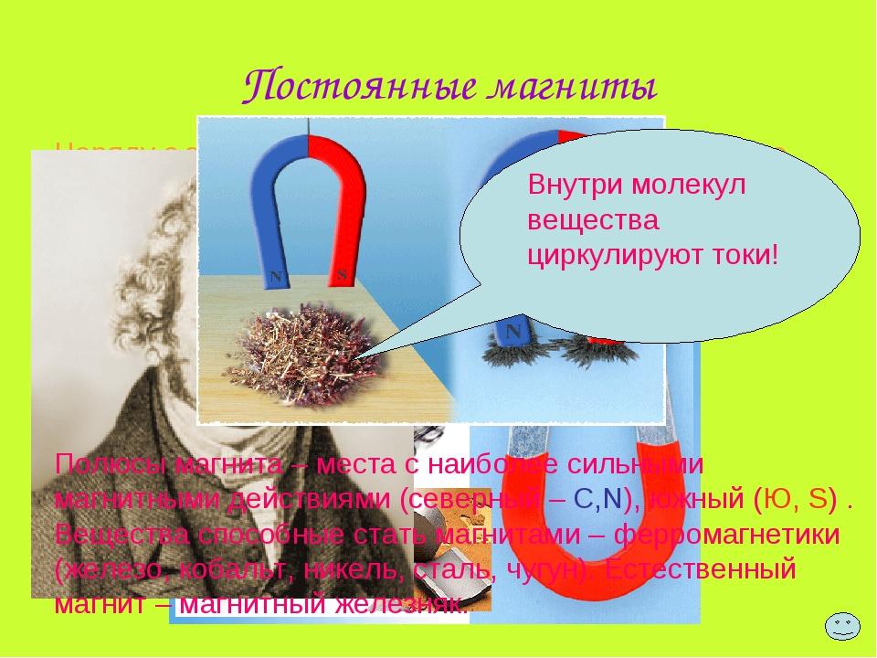 Постоянные магниты Наряду с электромагнитами, существуют постоянные магниты (...