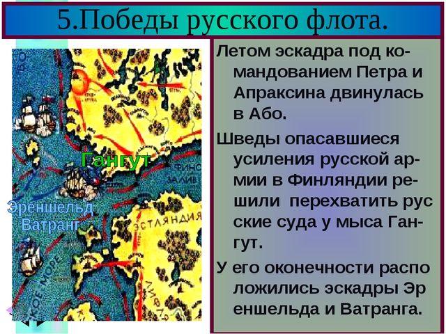 5.Победы русского флота. Летом эскадра под ко-мандованием Петра и Апраксина д...