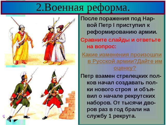 2.Военная реформа. После поражения под Нар-вой Петр I приступил к реформирова...