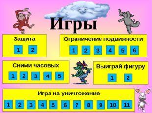 Выиграй фигуру Сними часовых Защита Игры 1 2 3 4 1 2 1 2 Игра на уничтожение