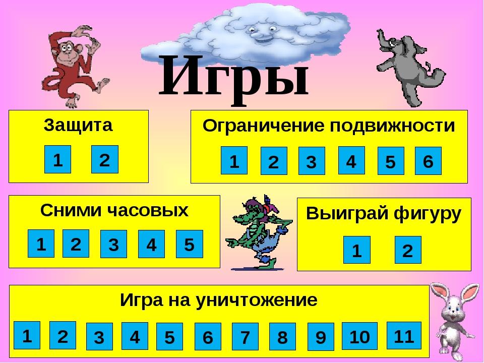 Выиграй фигуру Сними часовых Защита Игры 1 2 3 4 1 2 1 2 Игра на уничтожение...