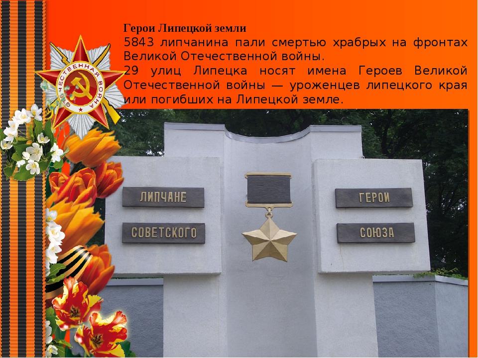 Герои Липецкой земли 5843 липчанина пали смертью храбрых на фронтах Великой О...