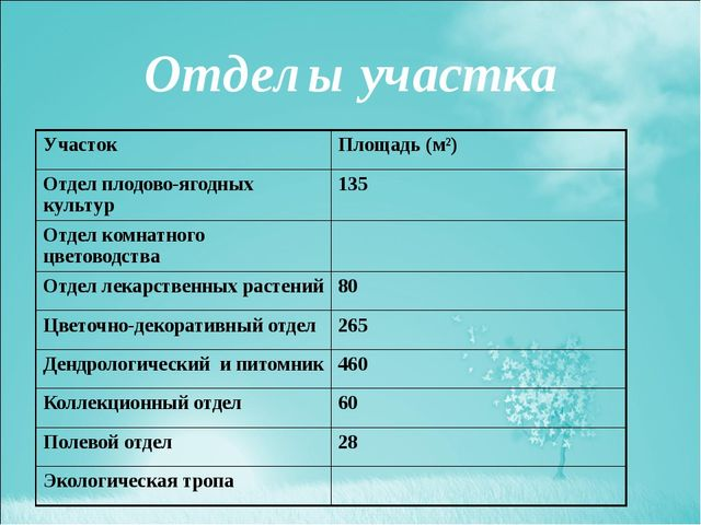 Отделы участка Участок Площадь (м²) Отдел плодово-ягодных культур 135 Отдел к...
