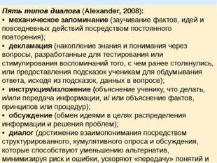 Пять типов диалога(Alexander, 2008): •механическое запоминание (заучивание