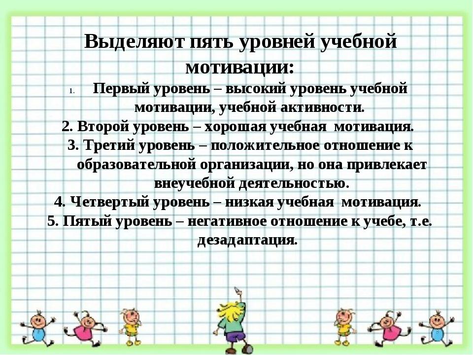 Выделяют пять уровней учебной мотивации: Первый уровень – высокий уровень уч...