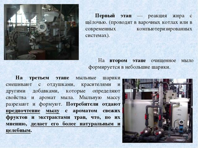 Первый этап — реакция жира с щёлочью. (проводят в варочных котлах или в совре...