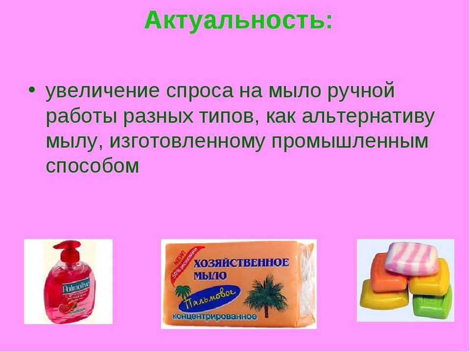 Актуальность: увеличение спроса на мыло ручной работы разных типов, как альт...