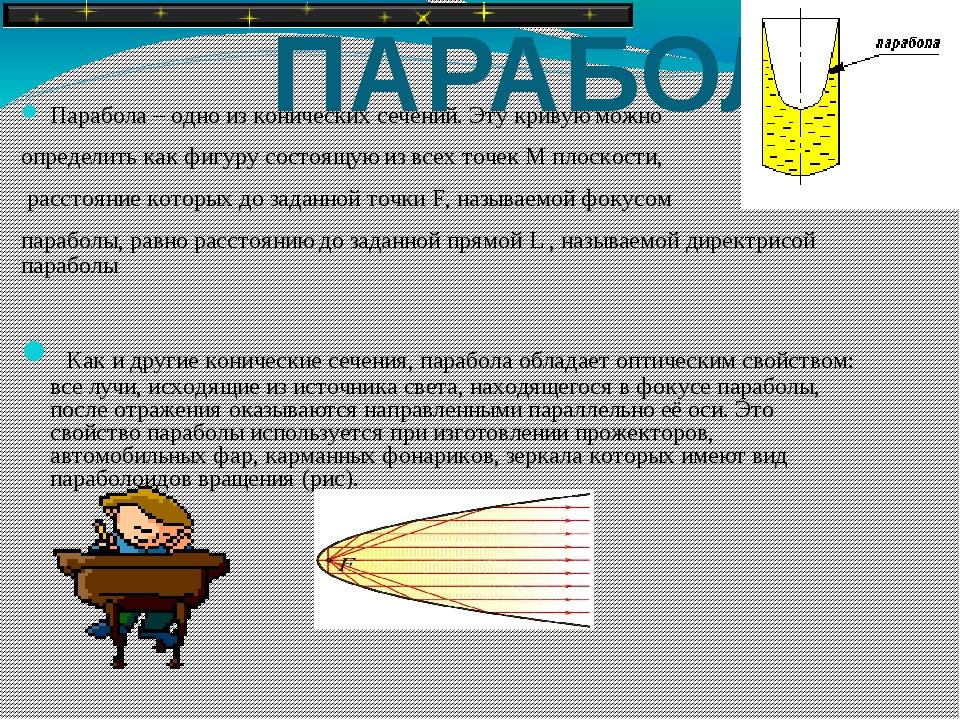 ПАРАБОЛА Парабола – одно из конических сечений. Эту кривую можно определить...