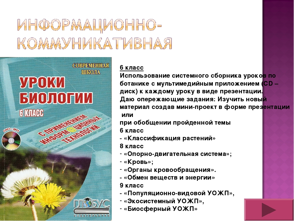 6 класс Использование системного сборника уроков по ботанике с мультимедийным...
