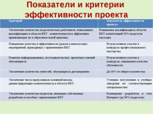 Показатели и критерии эффективности проекта КритерийПоказатель эффективности