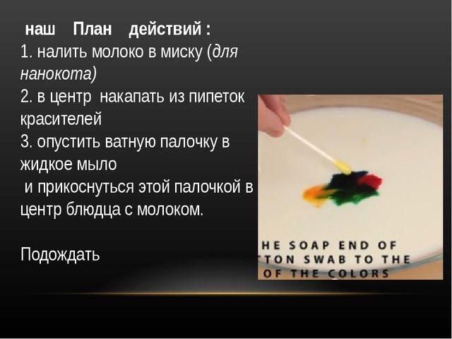 наш План действий : 1. налить молоко в миску (для нанокота) 2. в центр накап...