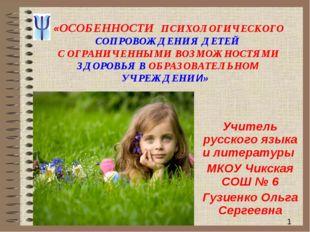 * «ОСОБЕННОСТИ ПСИХОЛОГИЧЕСКОГО СОПРОВОЖДЕНИЯ ДЕТЕЙ С ОГРАНИЧЕННЫМИ ВОЗМОЖНОС
