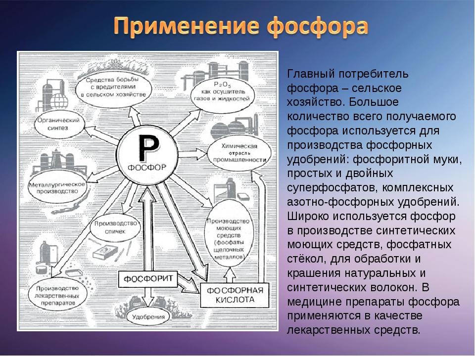 Главный потребитель фосфора – сельское хозяйство. Большое количество всего по...