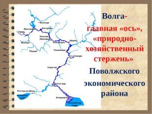 Волга- главная «ось», «природно-хозяйственный стержень» Поволжского экономиче