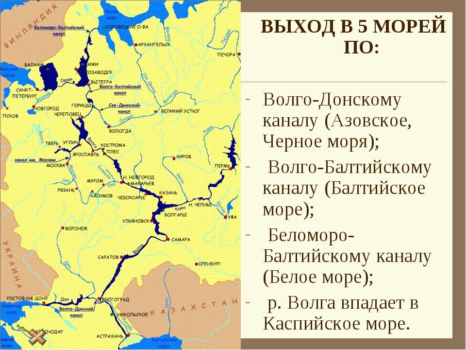 ВЫХОД В 5 МОРЕЙ ПО: Волго-Донскому каналу (Азовское, Черное моря); Волго-Б...