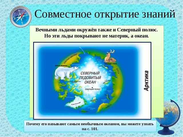 Совместное открытие знаний Вечными льдами окружён также и Северный полюс. Но...