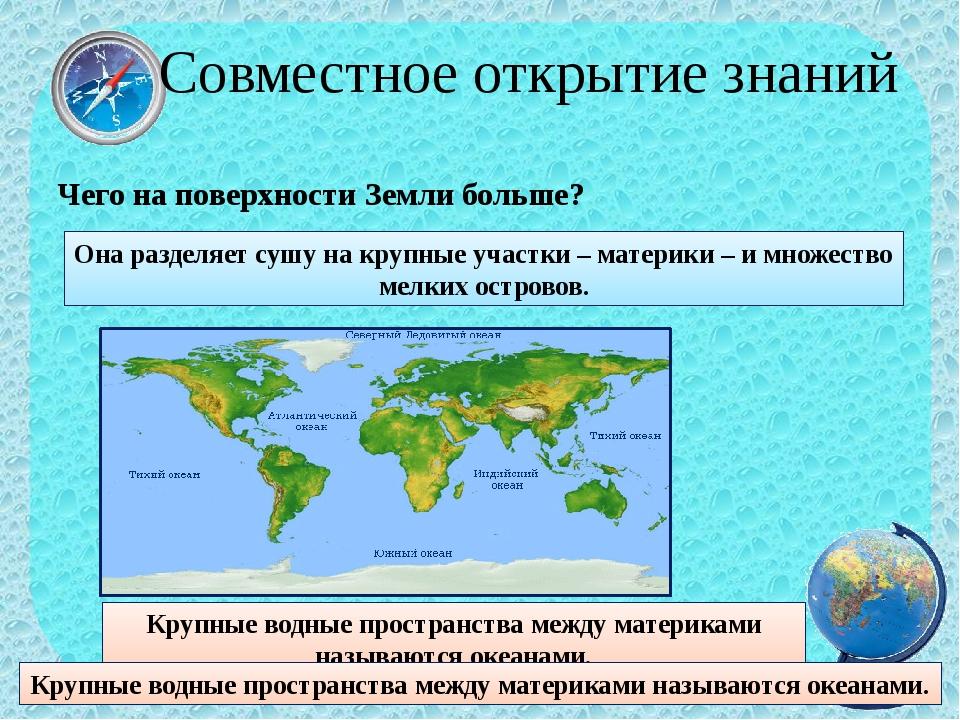 Чего на поверхности Земли больше? Совместное открытие знаний Она разделяет су...