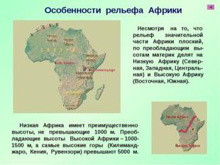 Низкая Африка имеет преимущественно высоты, не превышающие 1000 м. Преоб- ла