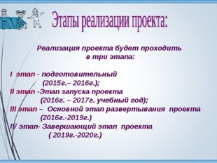 Реализация проекта будет проходить в три этапа: I этап - подготовительный (20