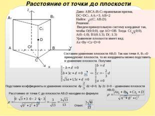 A1 A B B1 Z D C X Y O C1 Составим уравнение плоскости AB1D. Так как точки A,