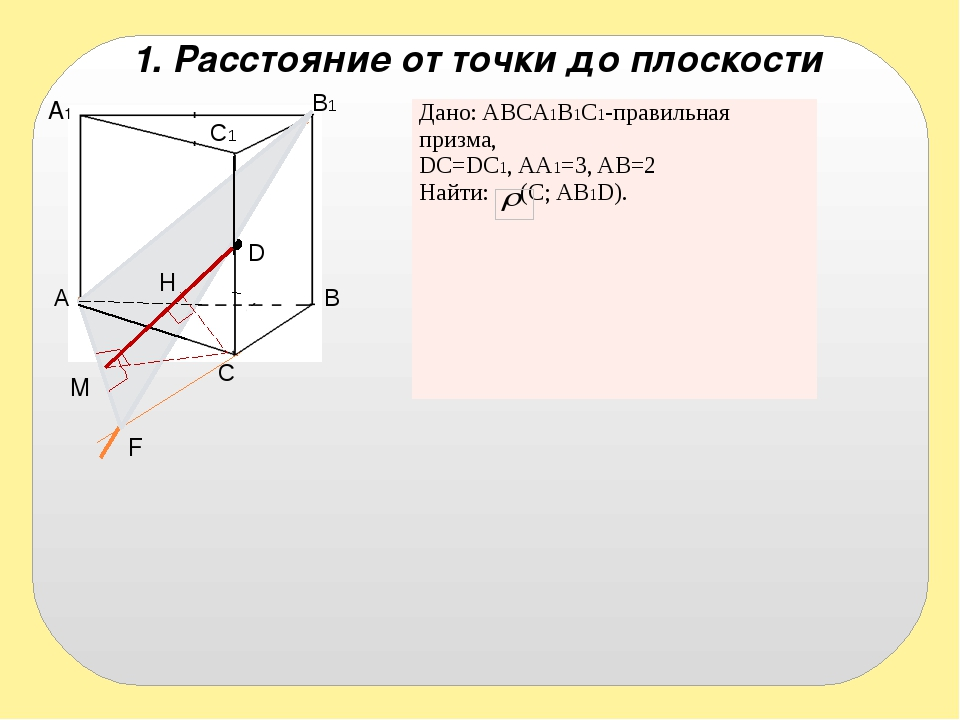 A1 A B B1 D C C1 F H M 1. Расстояние от точки до плоскости C1 Дано:ABCA1B1C1-...