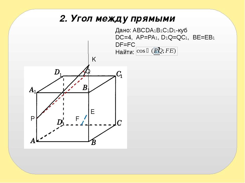2. Угол между прямыми Дано: ABCDA1B1C1D1-куб DC=4, AP=PA1, D1Q=QC1, BE=EB1 DF...