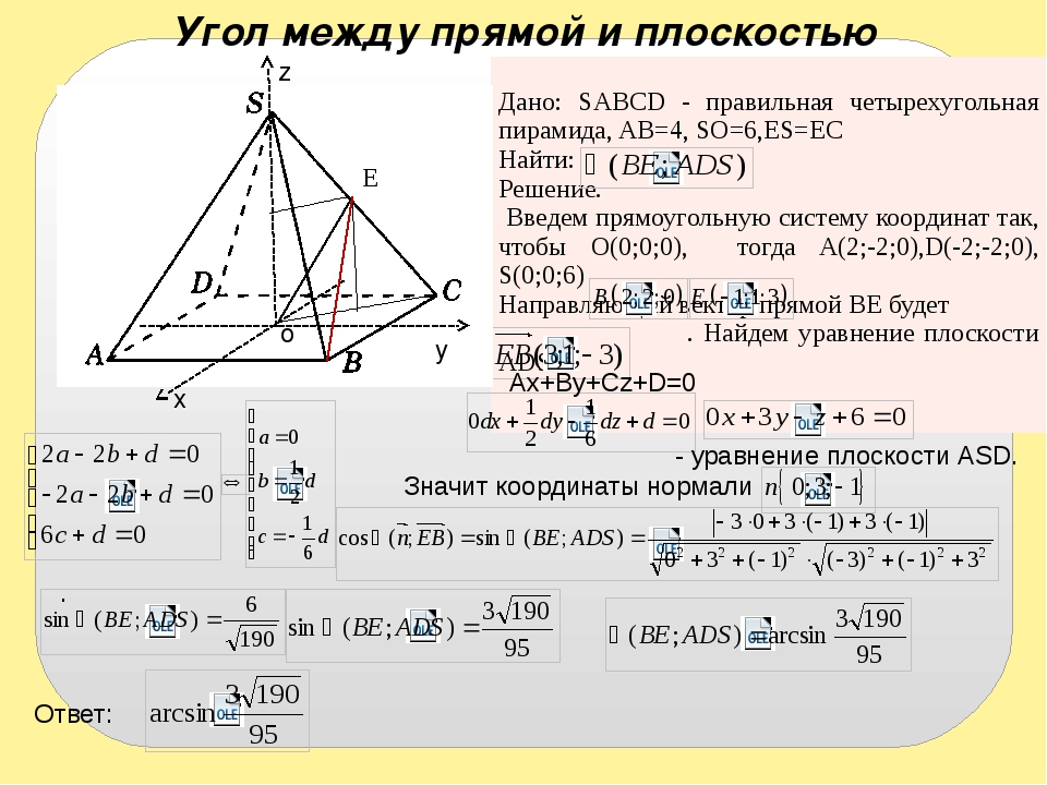 Угол между прямой и плоскостью E x y z o - уравнение плоскости АSD. Ax+By+Cz+...