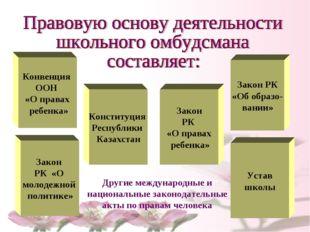 Конвенция ООН «О правах ребенка» Конституция Республики Казахстан Закон РК «О