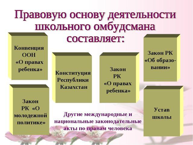 Конвенция ООН «О правах ребенка» Конституция Республики Казахстан Закон РК «О...
