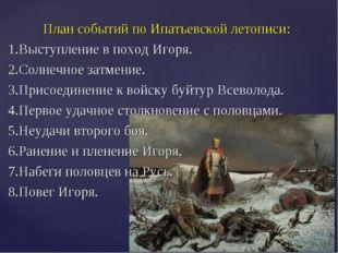 План событий по Ипатьевской летописи: 1.Выступление в поход Игоря. 2.Солнечно