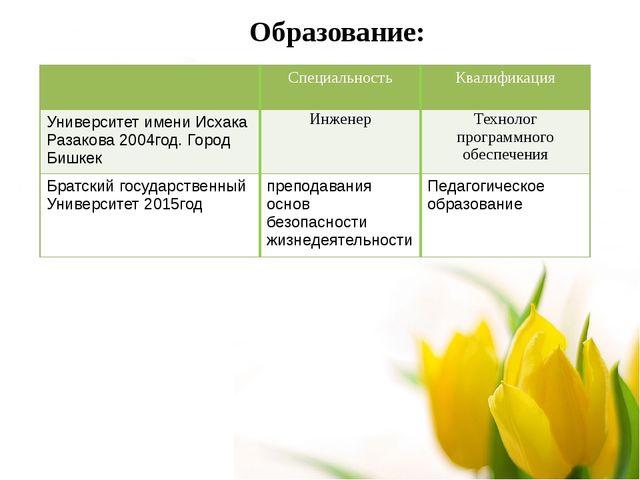 Образование: Специальность Квалификация Университет имениИсхакаРазакова2004го...