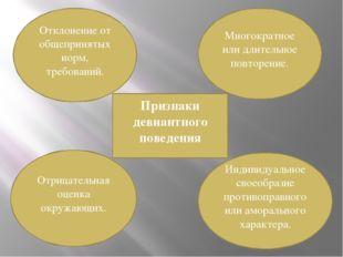 Признаки девиантного поведения Отклонение от общепринятых норм, требований. М