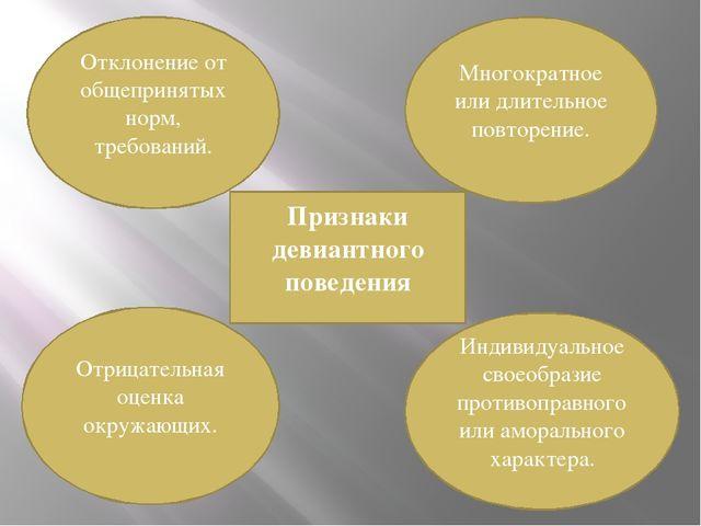 Признаки девиантного поведения Отклонение от общепринятых норм, требований. М...