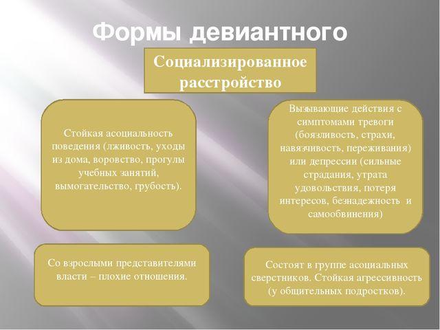 Формы девиантного поведения Социализированное расстройство Стойкая асоциально...