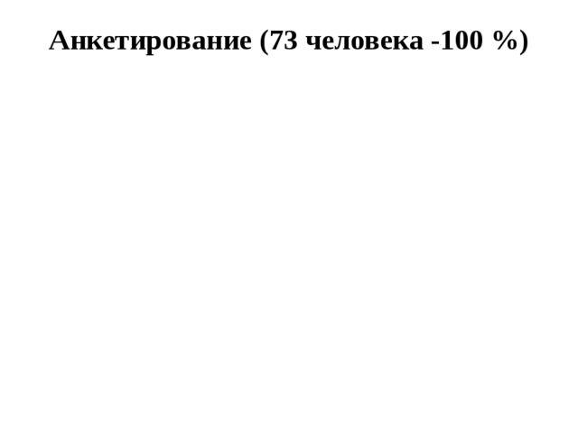 Анкетирование (73 человека -100 %)