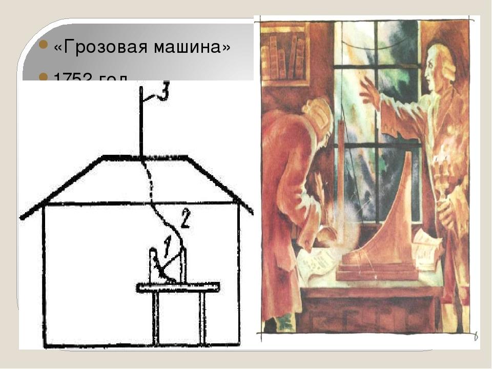 «Грозовая машина» 1752 год.
