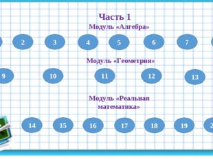 1 Часть 1 Модуль «Алгебра» 2 3 4 5 6 7 8 9 Модуль «Геометрия» 10 11 12 13 Мод