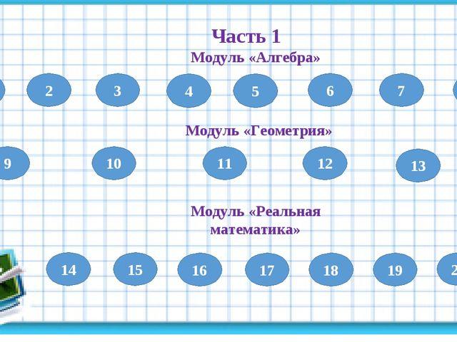1 Часть 1 Модуль «Алгебра» 2 3 4 5 6 7 8 9 Модуль «Геометрия» 10 11 12 13 Мод...