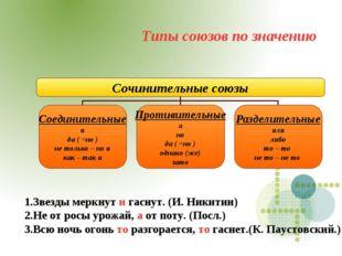Типы союзов по значению 1.Звезды меркнут и гаснут. (И. Никитин) 2.Не от росы