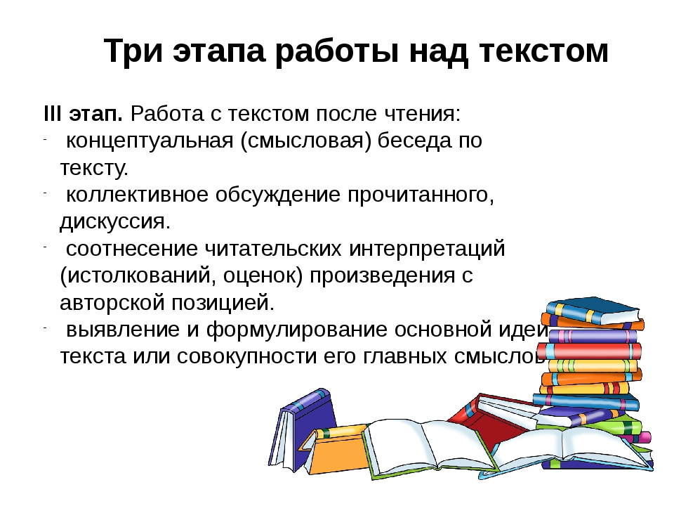 Три этапа работы над текстом III этап. Работа с текстом после чтения: концепт...